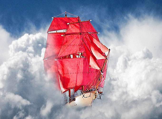 корабль с алыми парусами в облаках