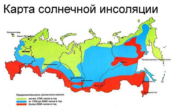 карта солнечной инсоляции