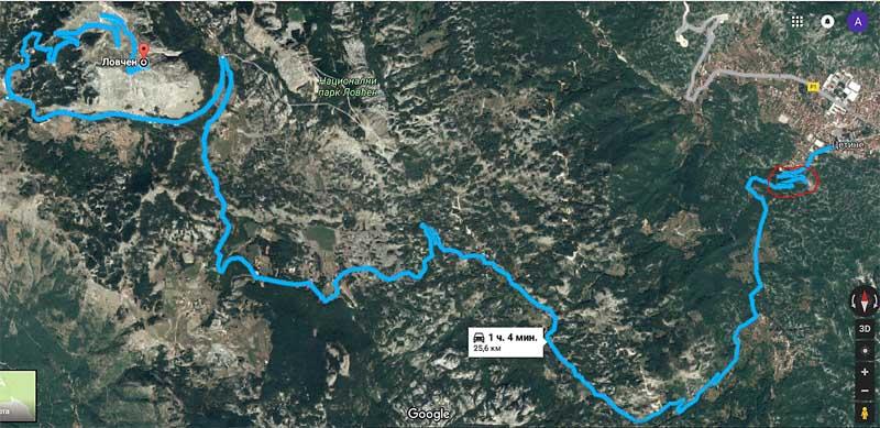 Скриншот дороги из Цетине в Ловчен